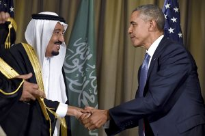 President Barack Obama shakes hands with King Salman of Saudi Arabia at the G-20 Summit in Antalya, Turkey, Sunday, Nov. 15, 2015.