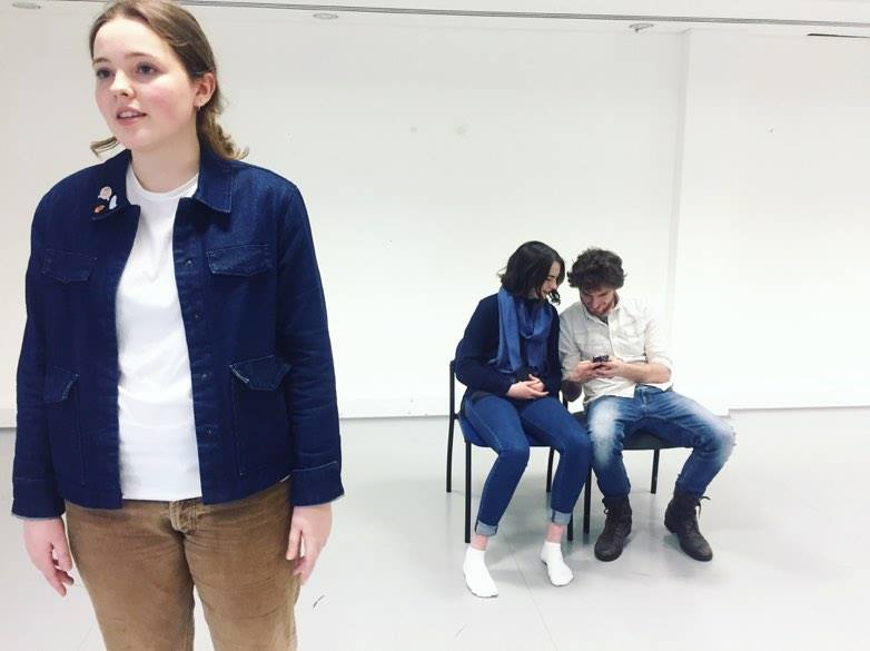 In rehearsal: Rachel Jermy, Jennie Martin, and Peter Fogarty. Credit: Sophie Ellen Davies