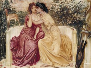 Simeon Solomon's Sappho and Erinna in a Garden at Mytilene (1864) can be seen in Tate Britain as part of their Queer British Art exhibition from 5th April – Image released under Creative Commons CC-BY-NC-ND