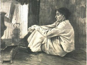 Sien with Cigar Sitting on the Floor near Stove (1882) - Vincent Van Gogh