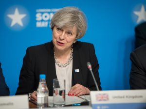 Brittish Prime Minister Theresa May speaks during an international conference on Somalia at the Lancaster House in London on May 11, 2017. (DOD photo by U.S. Staff Sgt. Jette Carr)