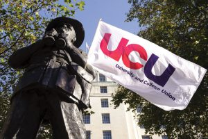 university-and-college-union-ucu-flag-hanging-on-statue