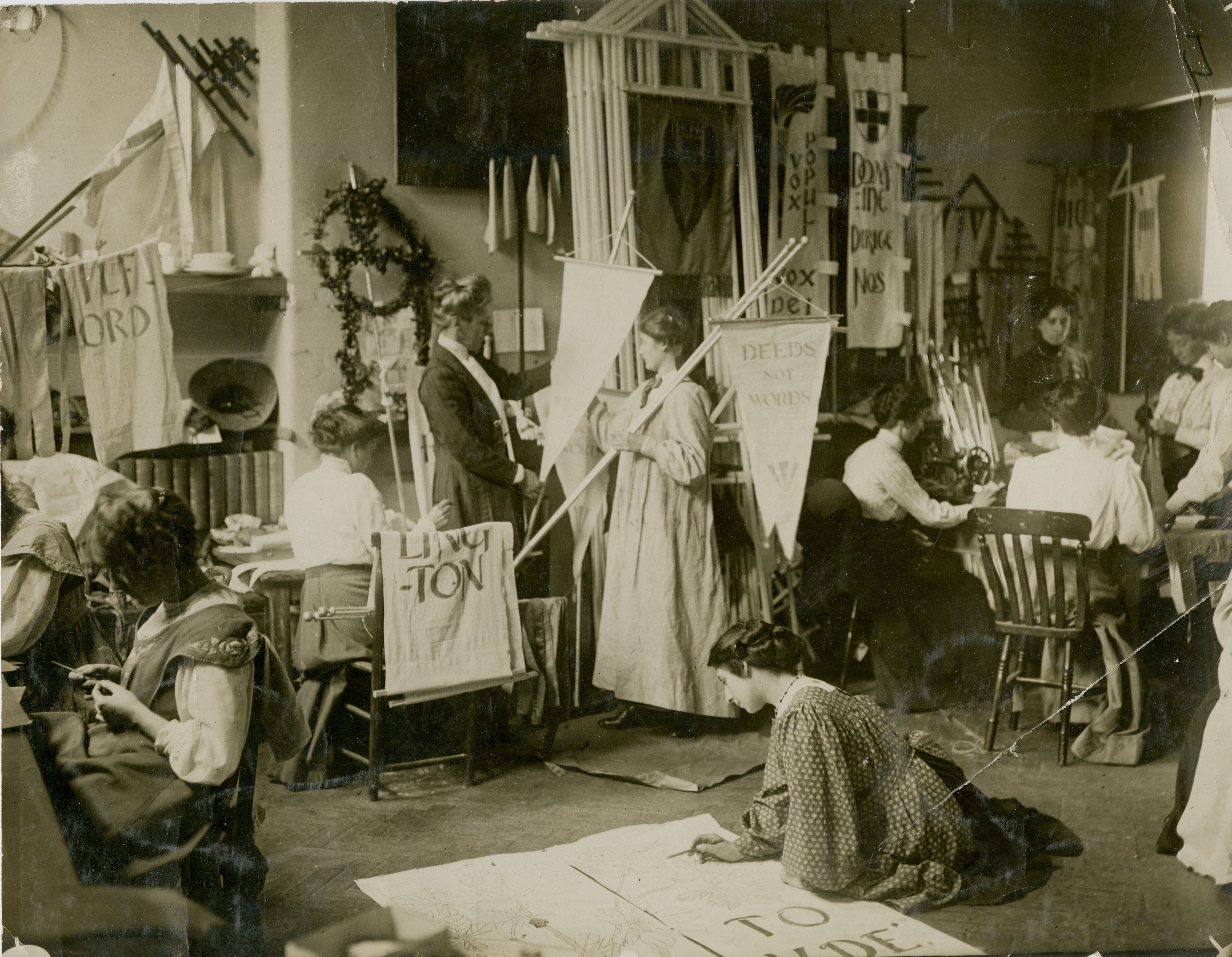 Making banners for a Women's Social & Political Union (WSPU) rally, 1910. Courtesy of LSE Library