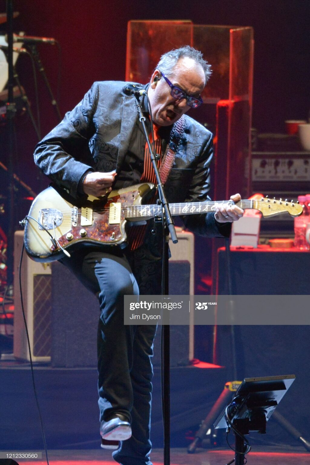 LONDON, ENGLAND - MARCH 13: Elvis Costello performs live on stage with The Imposters, during their 'Just Trust' tour, at Hammersmith Apollo on March 13, 2020 in London, England. (Photo by Jim Dyson/Getty Images)