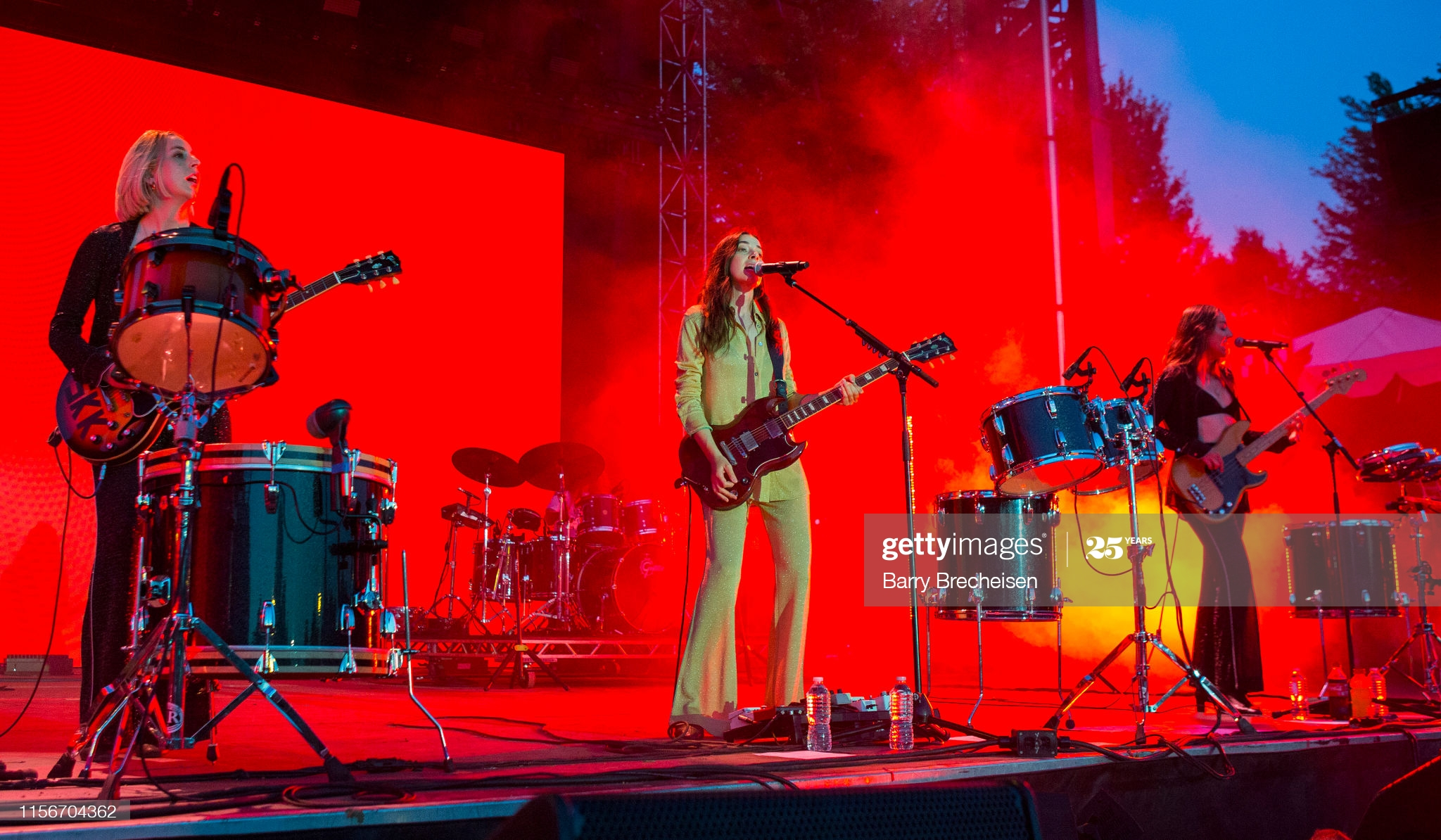 CHICAGO, IL - JULY 19: Alana Haim, Danielle Haim, Este Haim of Haim perform at the 2019 Pitchfork Music Festival at Union Park on July 19, 2019 in Chicago, Illinois. (Photo by Barry Brecheisen/WireImage)